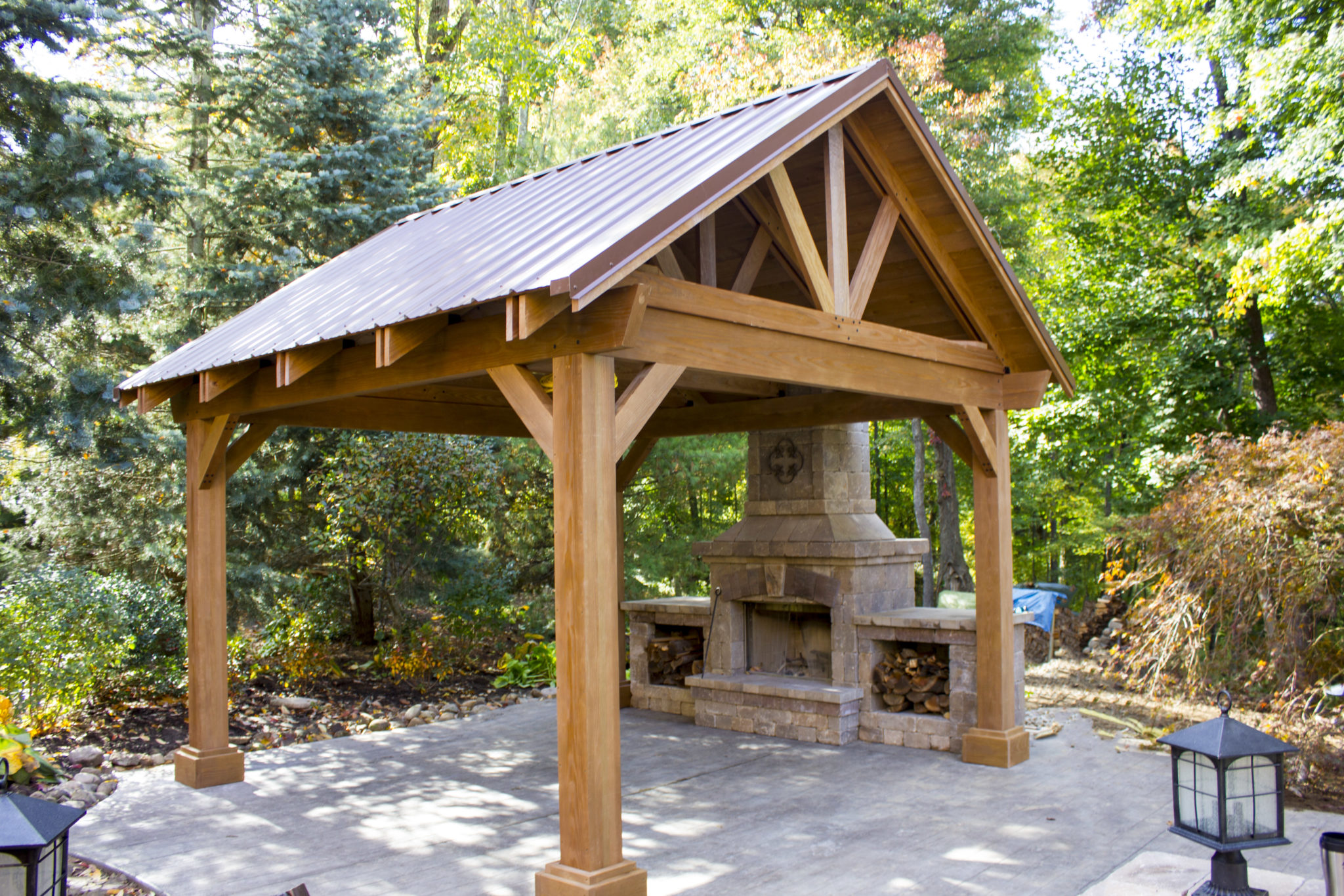 Decks and patios mock property services for Outdoor gazebo plans with fireplace