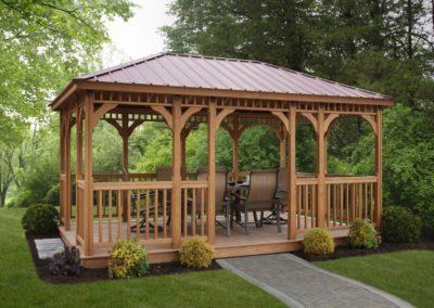 10x16 Madison, Treated Wood, Cedartone Stain, Regular Roof, American Rail